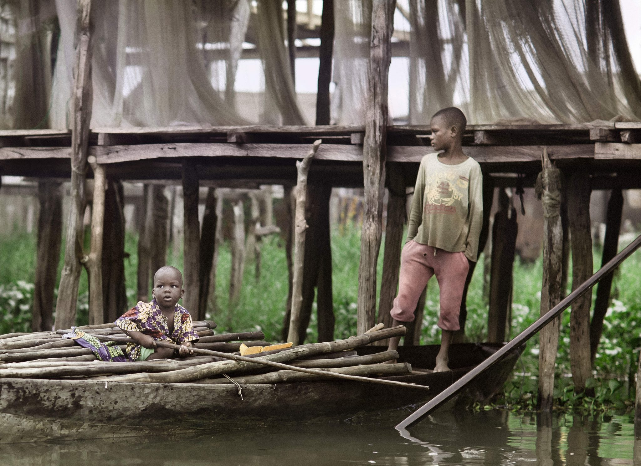 Two Boys on Boat in Africa